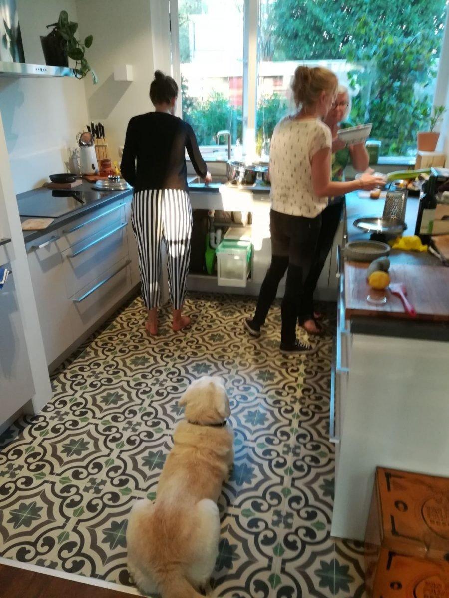 cementtegels in keuken