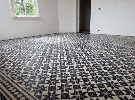 cementtegels woonkamer zwart ster