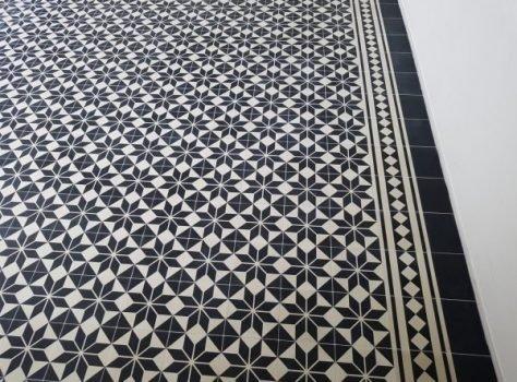 portugese cementtegel zwart wit 20x20 cm