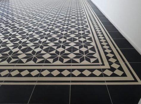 Cement tegels 20x20 cm zwarte ster