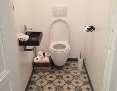 cementtegels in een toilet