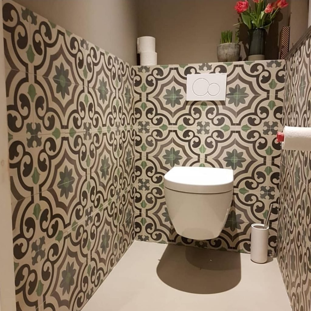 Portugese cementtegels wand toilet AGADIR 01