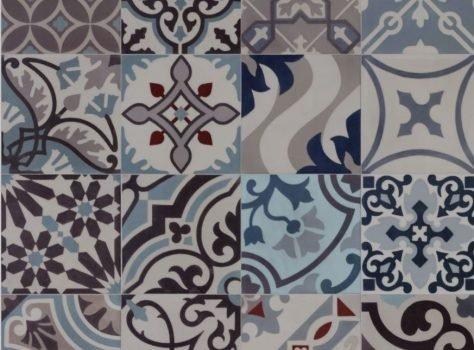 patchwork portugese tegels blauw