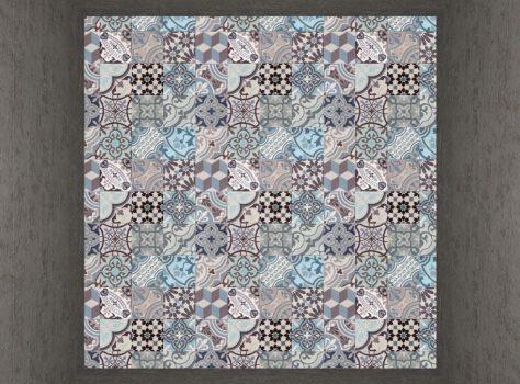 cementtegels patchwork bonte mix blauw