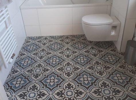 Portugese cementtegels badkamer Flowerz 4 Blue version 20x20