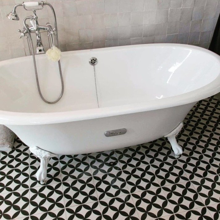 Portugese tegels zwart wit badkamer VCCZ01