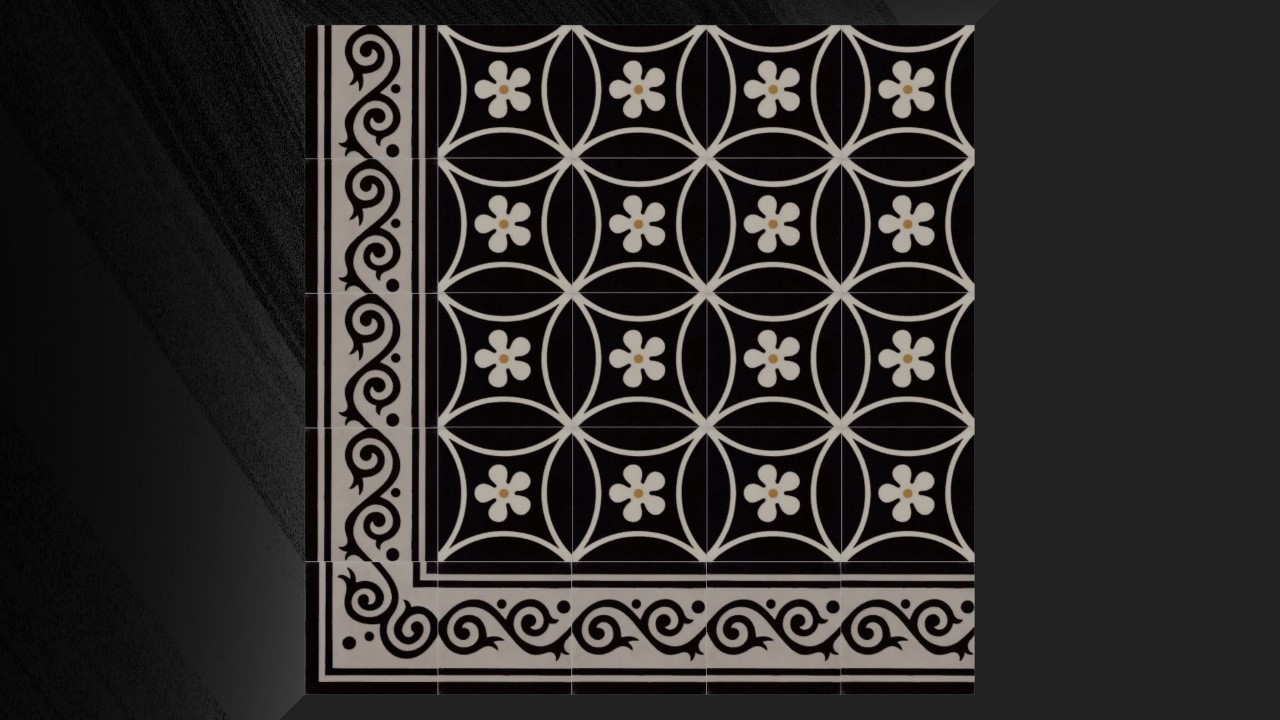 Zwarte cementtegels met bloem CANNES
