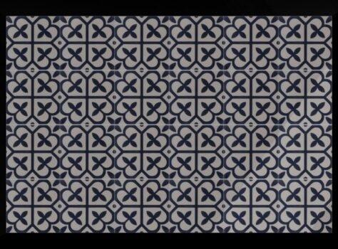Blauwe patroontegels en cementtegels