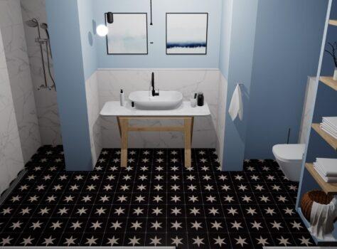 designtegels en cementtegels zwart wit met ster 20x20