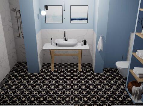 Designtegels badkamer cannes bloemmotief design