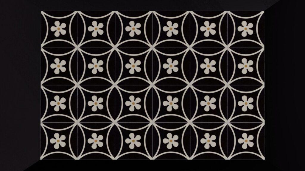 Designtegels met bloem zwart