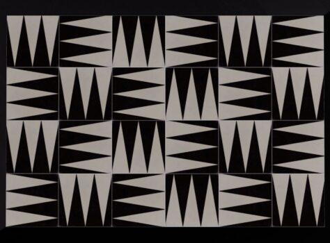 designtegel zwart wit tric trac 20x20