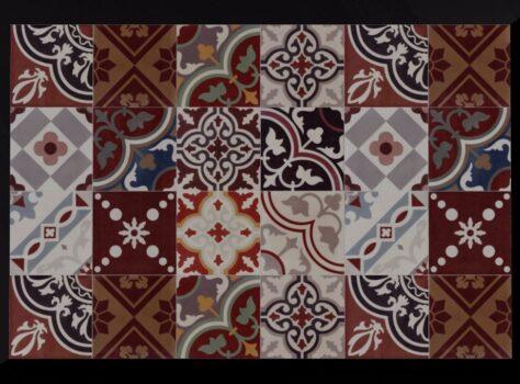 patchwork van Portugese tegeltjes rood